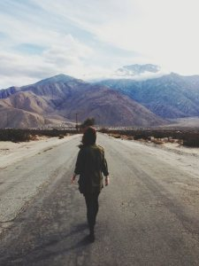 girl running in mountain